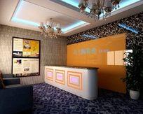 快捷酒店大厅前台3D设计效果模型素材资料