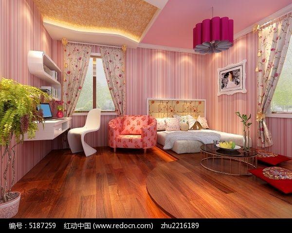浪漫可爱女孩房装修布置3d模型