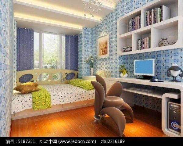 蓝色系榻榻米儿童房装修设计3d模型