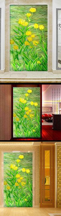 绿色清新花朵玄关电视沙发瓷砖背景墙