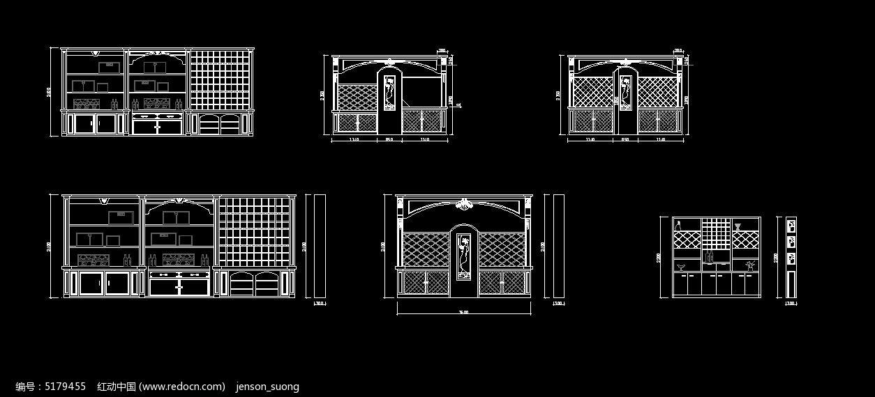 欧式酒柜cad素材下载_家具cad图纸设计图片