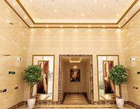 欧式石材装修酒店过道装修模型素材
