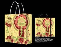 清新花卉面料手提袋
