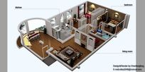 三室户型鸟瞰图3D设计模型素材