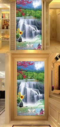 山水瀑布风景时尚玄关过道背景墙装饰画