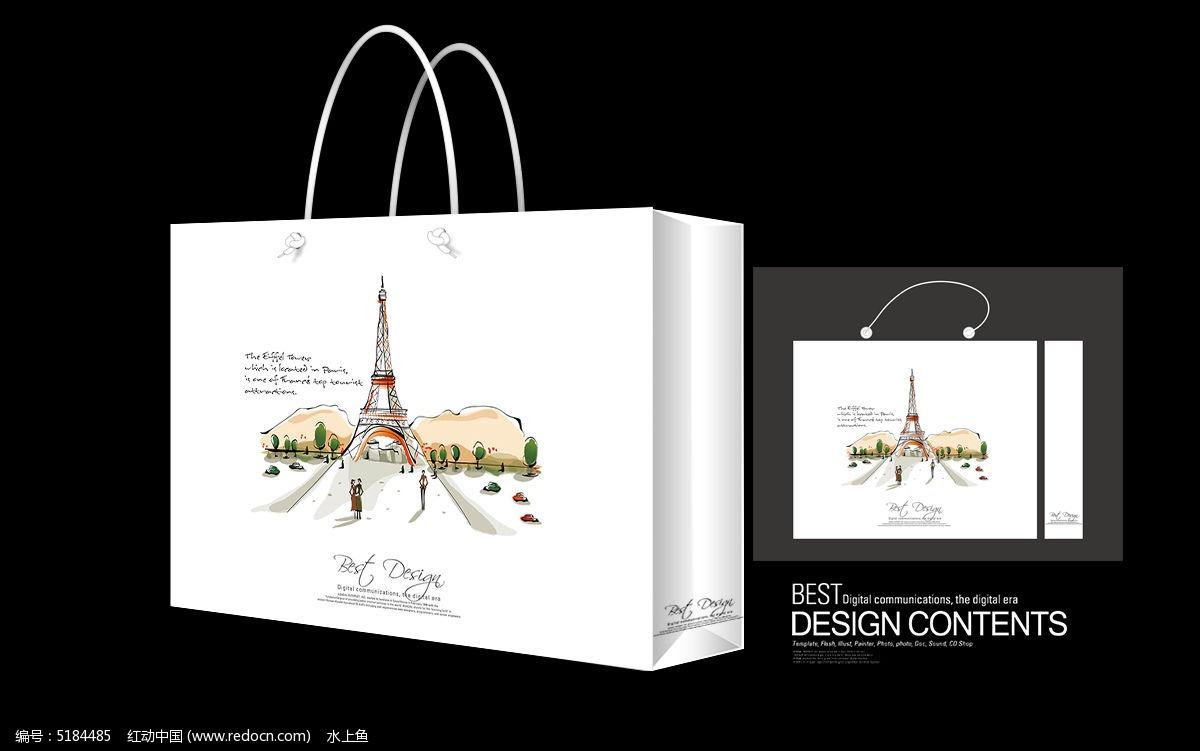 手绘插画手提袋建筑_包装设计/手提袋图片素材