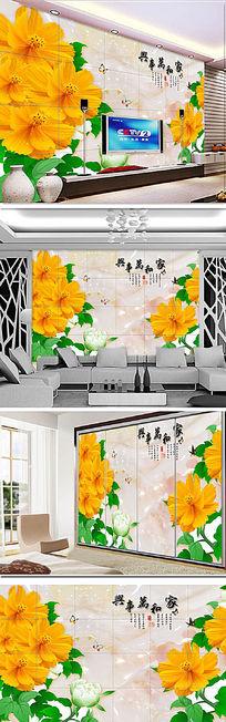 手绘花朵3d软包电视背景墙
