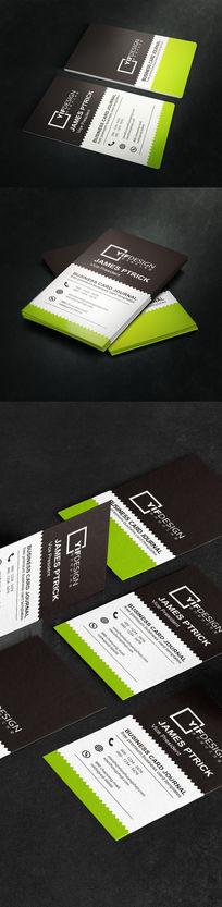 竖版绿色健康餐饮名片设计