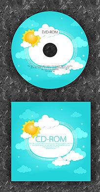天空太阳卡通时尚CD光盘设计 PSD