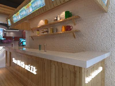 田園風格小吃店吧臺裝修3d模型素材資料圖片