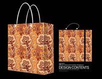 无缝花卉图案手提袋