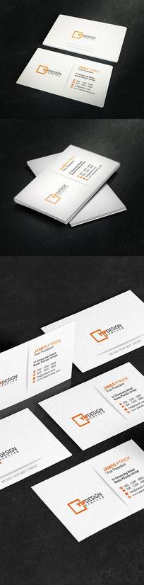 现代白色简约名片设计 PSD