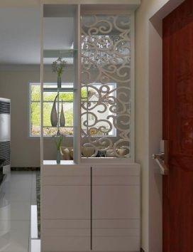 现代白色室内装修造型鞋柜3d模型