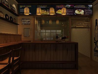 鄉村風格小吃店裝修3d模型素材資料