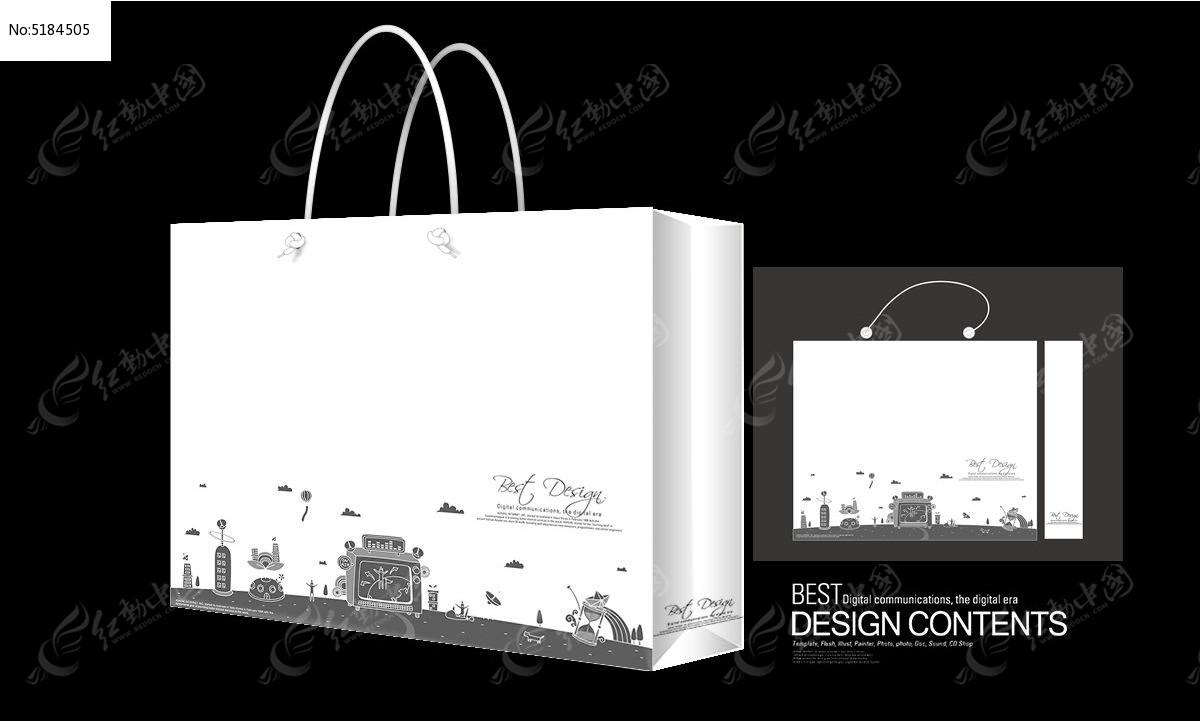 系统图标手绘插画手提袋