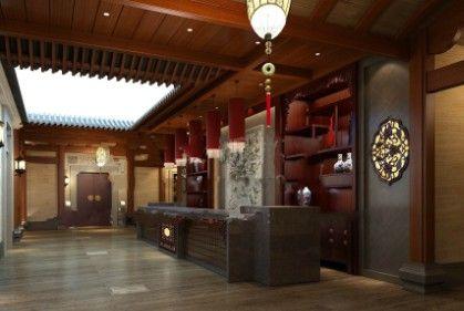 中式风格餐饮店前台设计3d模型素材资料图片