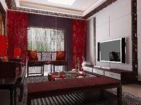 中式造型客厅装修3D模型素材