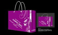 紫色经典矢量图案手提袋