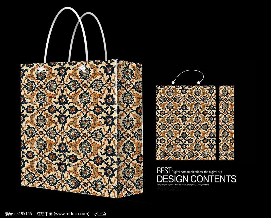 设计 广告设计 服装设计      简约 花纹  装饰花纹手提袋 欧式花纹