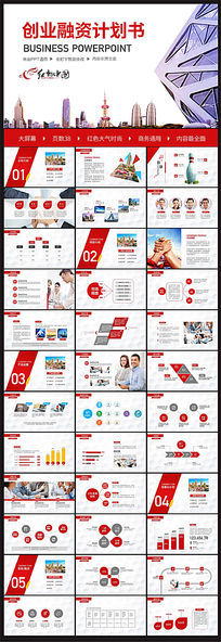 大气红色创业融资计划书商业投资项目PPT模板设计 pptx