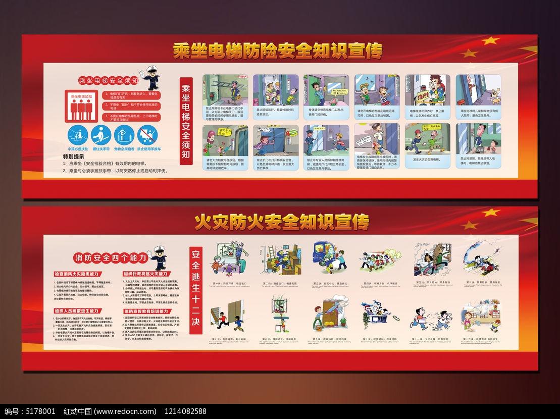 电梯安全消防宣传展板PSD素材下载 社区宣传展板设计图片
