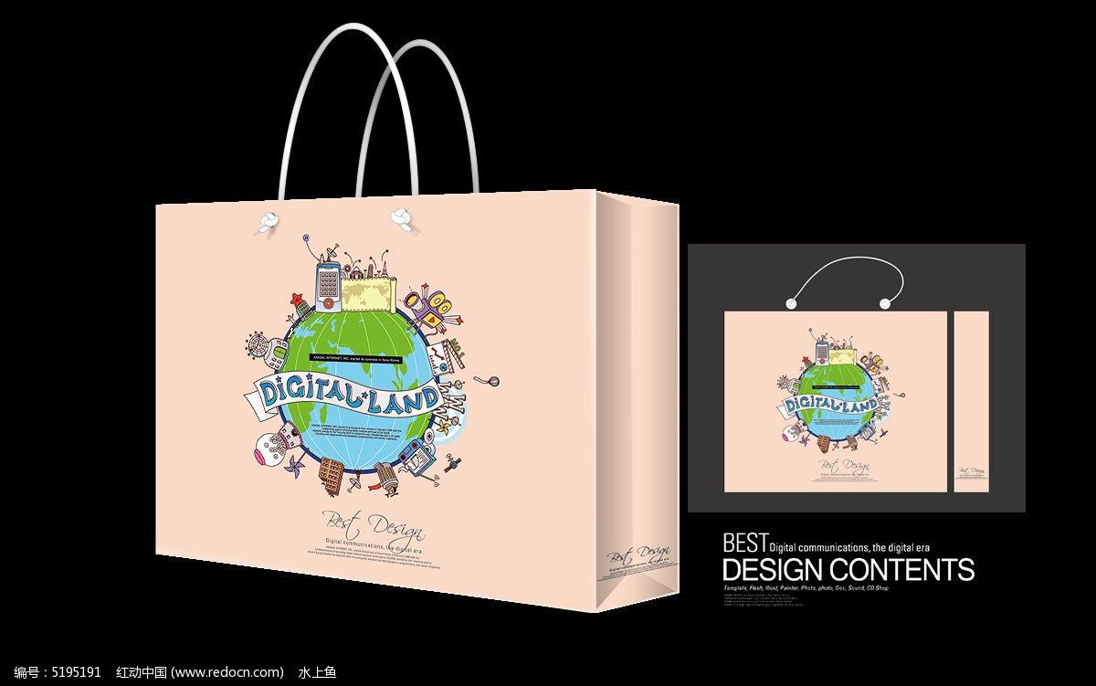 地球手绘插画手提袋