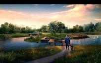 公园规划效果图psd素材