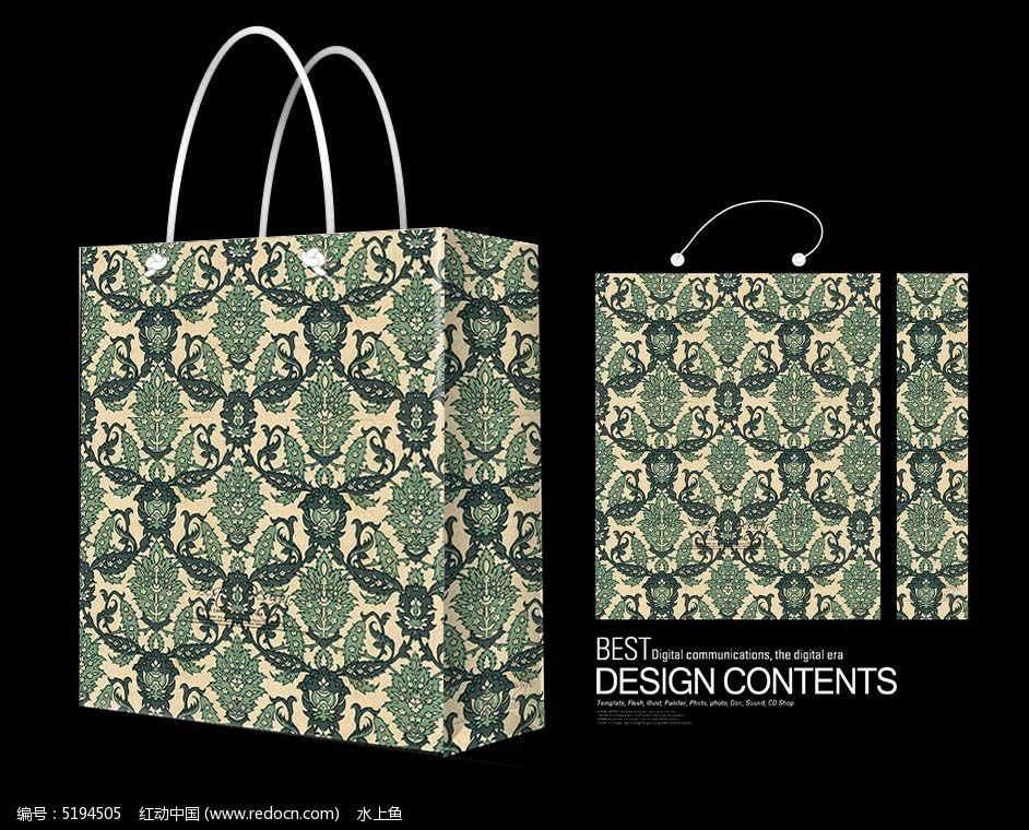 广告设计 服装设计 简约 花纹 包装花纹手提袋 装饰花纹手提袋 欧式