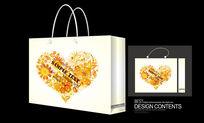 金色经典爱心矢量图案手提袋