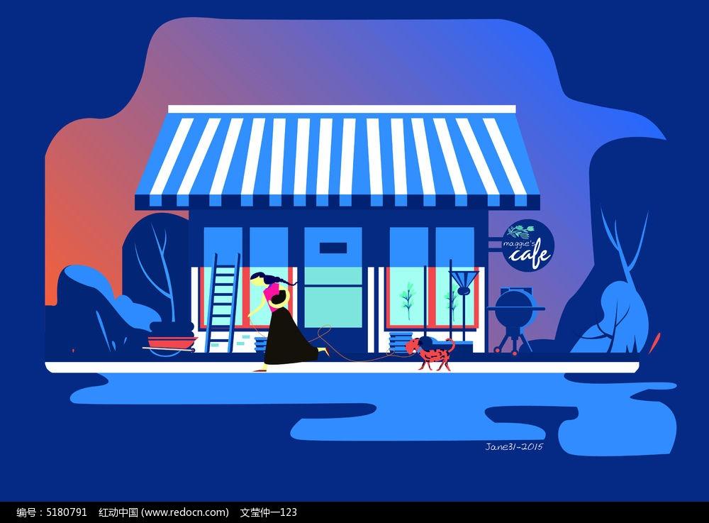 可爱欧式咖啡小资咖啡店图片