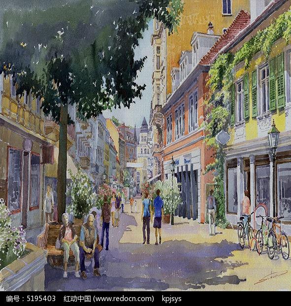 欧美街道复古风格餐厅画模板