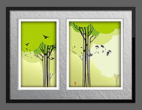 小鸟归家抽象油画
