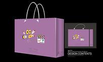 紫色手绘插画手提袋