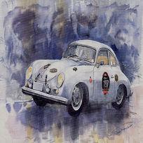 古典轿车做旧欧美复古风格装饰画