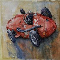 古典赛车做旧欧美复古风格装饰画
