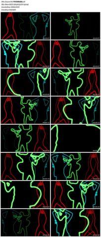 节日欢快舞蹈吉他手彩色描边背景视频素材