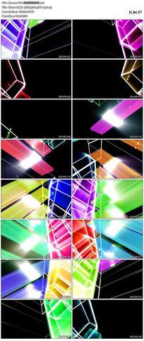 炫丽运动光环玻璃质感方块led舞台背景视频素材