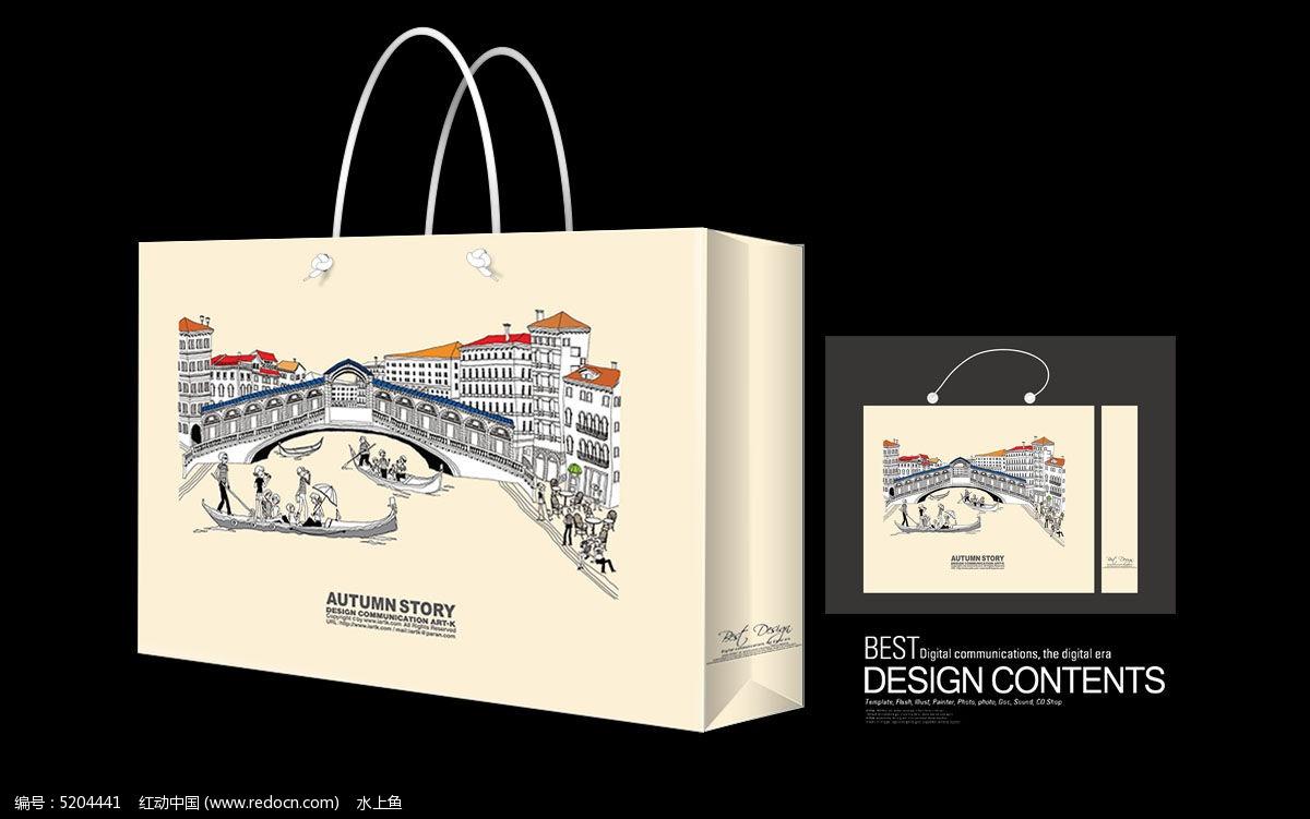 著名建筑手绘矢量手提袋