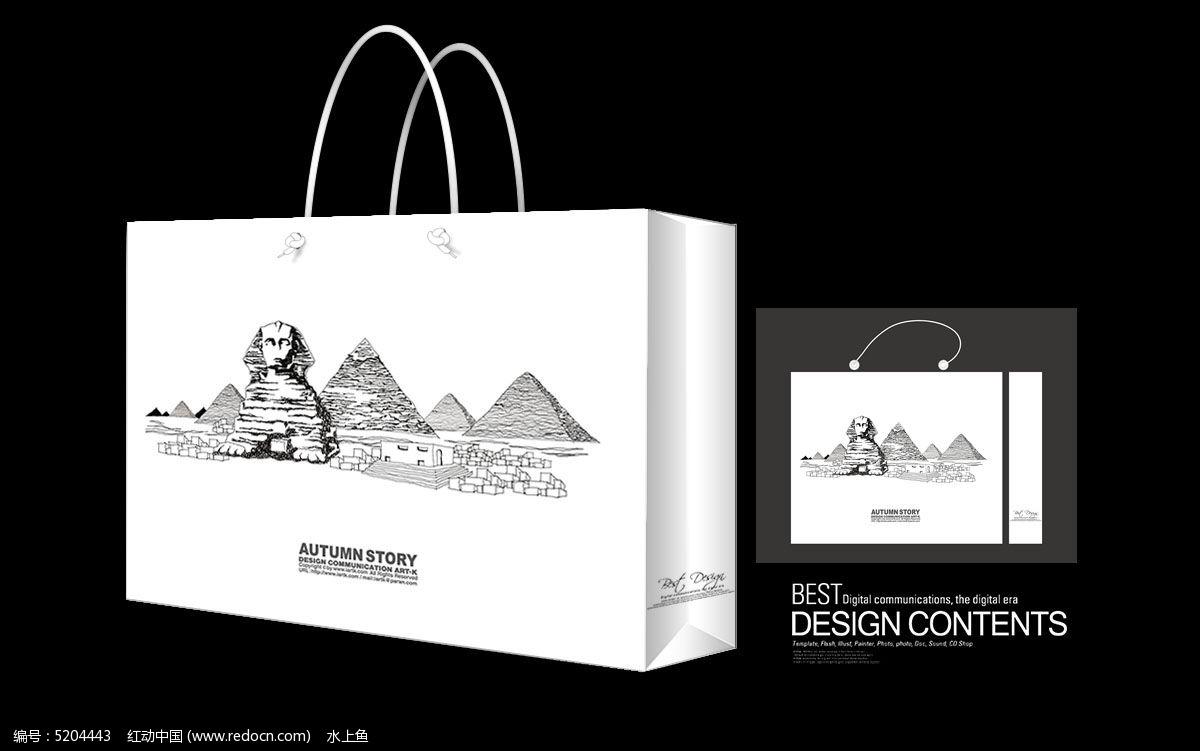 著名金字塔手绘矢量手提袋