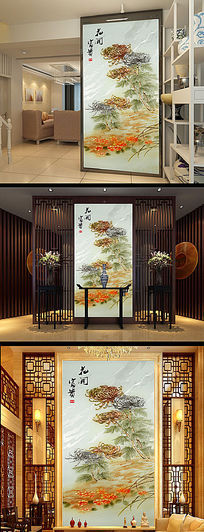 3D立体彩雕花开富贵金色菊花玄关
