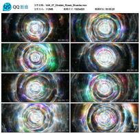 白色云雾像素花屏科技3D宇宙空间光效时光隧道背景视频素材