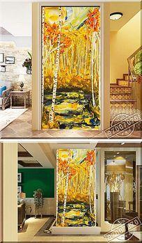 抽象树林颜料油画玄关背景墙