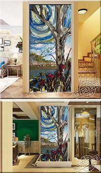 抽象艺术树木颜料风景油画玄关背景墙