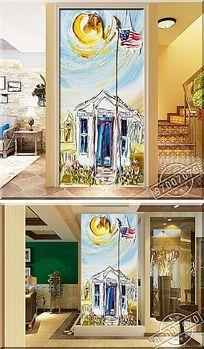 抽象艺术政府颜料风景油画玄关背景墙