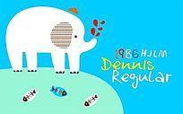 大象图案插图