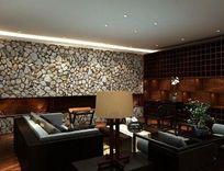 黑色系休闲客厅装修3D模型