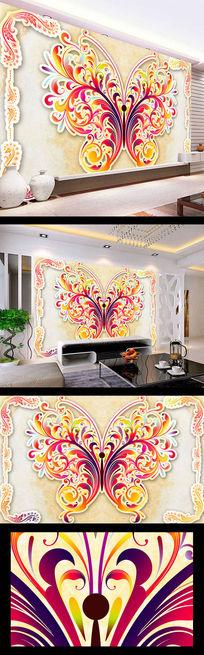 蝴蝶花纹大理石壁画设计