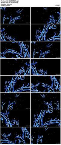 蓝色矢量图花藤花边花纹循环播放高清舞蹈视频模特素材