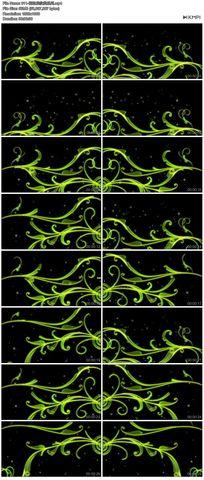 绿色矢量图花藤花边花纹循环播放高清视频舞蹈模特素材