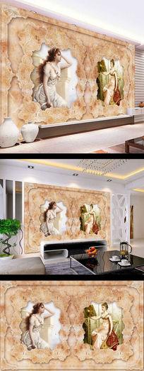 欧式花纹美女大理石壁画